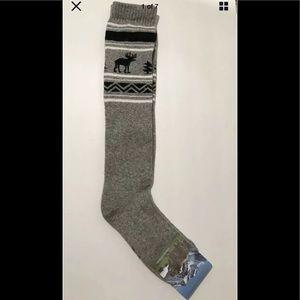 Knee high tall socks yak woolblend grey L Mongolia